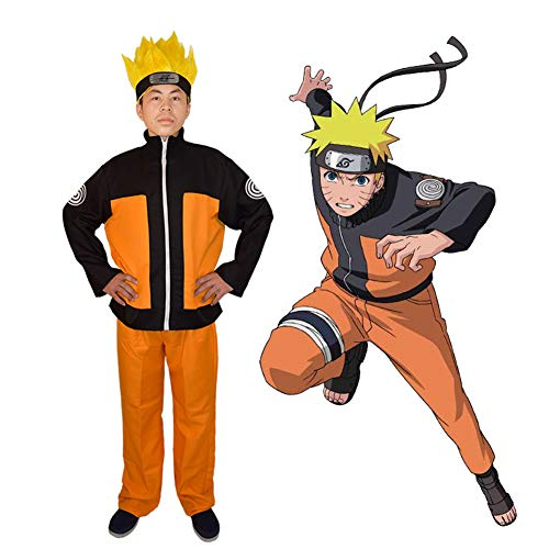 QQA Naruto Uzumaki Naruto Cosplay Traje japonés Anime Naruto: Shippūden Traje de Cosplay,Amarillo,S