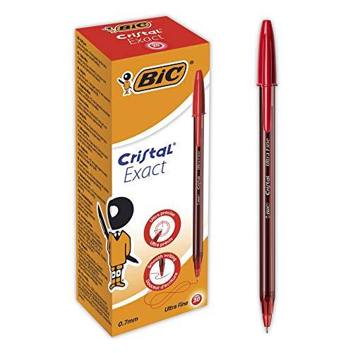 BIC Cristal Exact Bolígrafos Punta Fina (0,7mm) - Rojo, Caja de 20Uds.