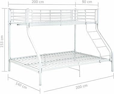 VIENDADPOW Lits & Cadres de lit Cadre de lit superposé Blanc Métal 140x200 cm/90x200 cm