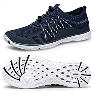 Alibress Men's Outdoor Water Shoes Quick Dry Beach Water Shoes for Men Blue Navy White 11 M US