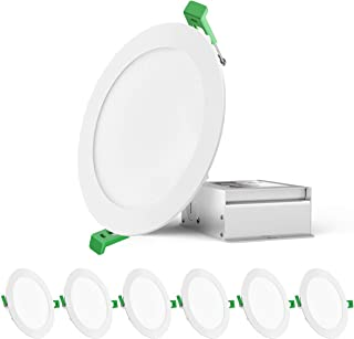 """Gianor 12W 6"""" Ultra-Thin Recessed Ceiling Light, Low Profile Dimmable Wafer Downlight with Junction Box, 960lm, 100W Equiv, 5000K Daylight White (6 Pack)"""