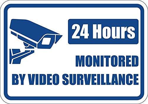 None Brand Property Under4 ore Videosorveglianza Alluminio Metallo Cartello Grande