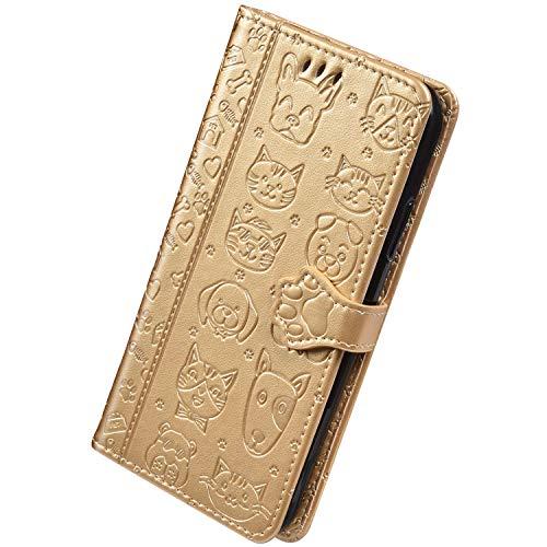 Herbests Kompatibel mit Huawei P30 Pro Handyhülle Leder Hülle Cartoon Katze Hund Muster Leder Schutzhülle Brieftasche Klapphülle Flip Case Wallet Tasche mit Kartenfach Ständer,Gold