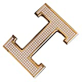 Belt Buckle for Men and Women Stainless Steel artificial diamond exclude Waist Strap (E)