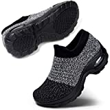 Women's Walking Shoes Sock Sneakers Mesh Slip On Air Cushion Lady Girls Modern Jazz Dance Easy Shoes Platform Loafers, Grey Black Size 8.5