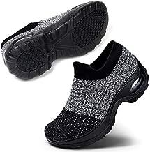 Women's Slip On Mesh Walking Shoes Fashion Comfort Platform Athletic Work Out Sneakers, Grey Black Size 10