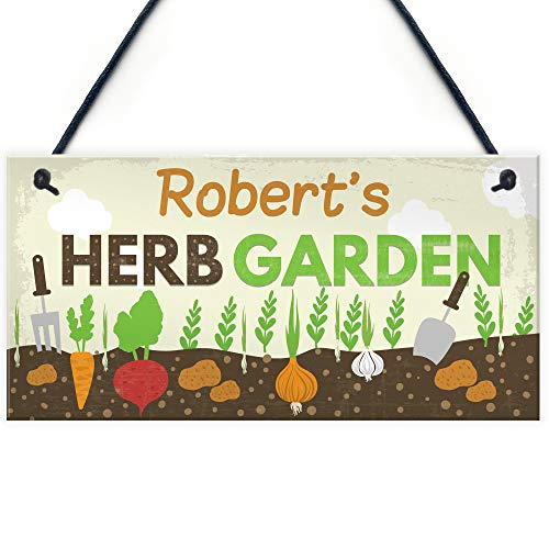 RED OCEAN PERSONALISED Any Names Herb Garden Shed Summerhouse Gardening Plaque Mum Nan Grandad Gifts