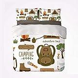 Juego de Funda nórdica Adventure Practical 3 Juego de Cama, Equipo de Campamento Saco de Dormir Botas Campfire Shovel Hatchet Log Obra de Arte Imprimir para Dormify