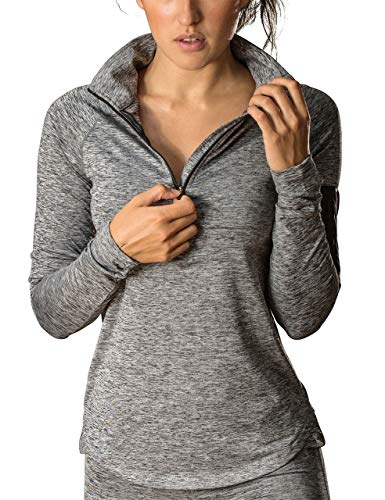 icyzone Women's Workout Yoga Track Jacket 1/2 Zip Long Sleeve Running Shirt (S, Athletic Grey)