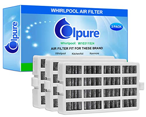 Colpure CPO01 Refrigerator Air Replacement for Whirlpool W10311524 AIR1, 3 Filters in 1 (White), Wihte