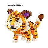 JMFHCD Bausteine DIY Montieren Tiere Modell Spielzeug Micro Körnchen, Kompatibel Mit Lego, Kinder Pädagogisches Ziegel Für Junge Mädchen Geschenke,Tiger