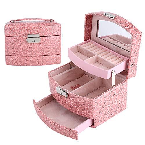 Caja Joyero Caja De Joyería 3 Capas Collar De Joyas Anillo Caja De Almacenamiento Caja Dama Regalo Hogar Suministros Rosa