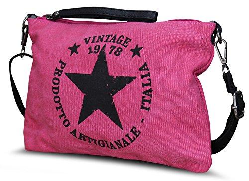 STERN DAMEN LUXUS TASCHE STAR STOFFTASCHE CANVAS SHOPPER HANDTASCHE (M3 Pink)