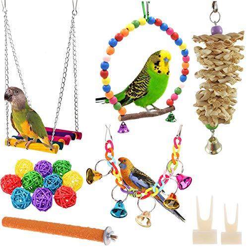 Wonninek Juguete de Loro de pájaro de 17 Piezas Juguete de Campana...