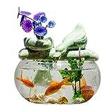 CDDJJ Fuente de Agua de cerámica de Cristal de Escritorio Fish Tank Cubierta de Oficina Fuentes decoración casera Creativa Crafts