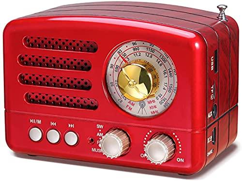 Fisecnoo Am FM Radio Retro Altavoz Bluetooth, Radio Transistor Radio portátil Operado por batería con Aspecto clásico Vintage, Puerto USB Incorporado, Micro-SD, Entrada AUX