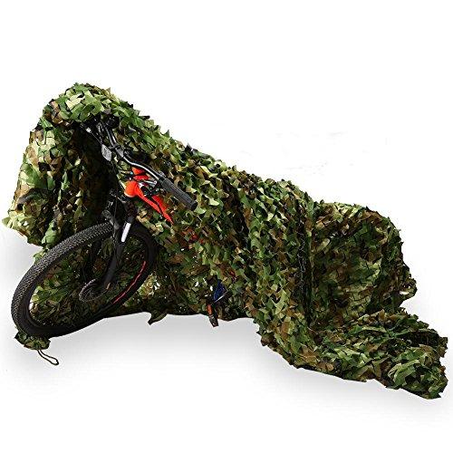EBTOOLS Tarnnetz, 1,5 x 7 m, Oxford-Gewebe, für Jagd, Armeestangen, Tarnnetz, Tarnnetz, für Kinder, für Waldschieße, Camouflage, mit Blättern, Jagd, Militär-Dekoration