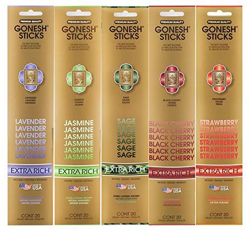 Gonesh Incense Extra Rich Floral Collection Variety Pack, 5 Packs, 20 Sticks Each (Lavender, Jasmine, Sage, Black Cherry, Strawberry)