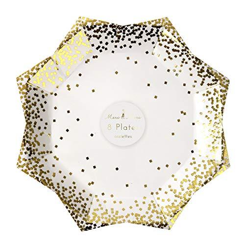 Meri Meri Pappteller im Sternformat mit Gold Glitter Konfetti