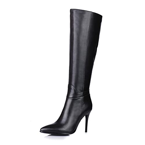 821055be0d153 Leather Knee High Heel Boots: Amazon.co.uk