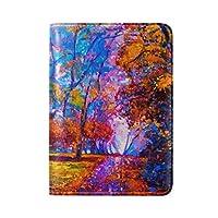 水彩の秋の木旅行男性女性のためのパスポートホルダー本革カバーケース