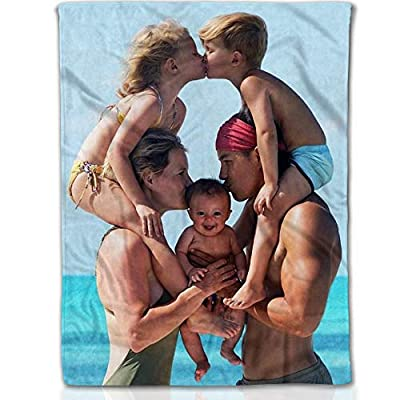 a family of 5 in a group photo, printed on a fleece blanket