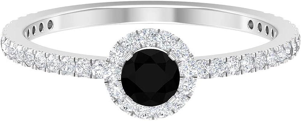 4 MM Solitaire Black Diamond Ring, D-VSSI Moissanite Halo Ring, Side Stone Engagement Ring, Anniversary Ring For Women, 14K Gold