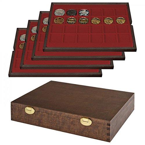 LINDNER Echtholz Münzkassette mit 4 Tableaus für 96 Münzen/Münzkapseln bis Ø 42 mm - Sonderedition
