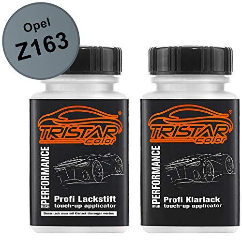 TRISTARcolor Autolack Lackstift Set für Opel Z163 Lichtsilber Metallic/Silver Light Metallic Basislack Klarlack je 50ml