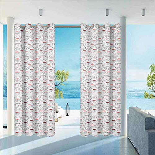 Anmaseven Tea Party High-end Curtains Outdoor Windproof and Waterproof Doodle Style Crockery Illustration of Floral Patterned Kettles and Cups Red Black White 84' W by 84' L(K214cm x G214cm)