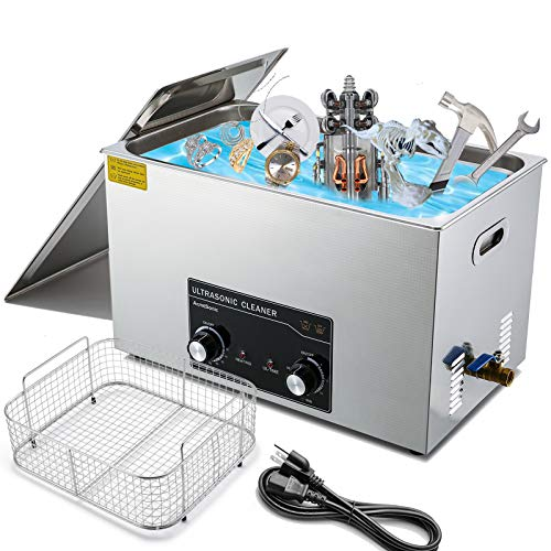 Commercial Ultrasonic Cleaner 30L with Heater 42kHz for Carburetor Bike Chain 3D Printing Modle Brass Instrument Jewelry Denture Professional, ACMESONIC