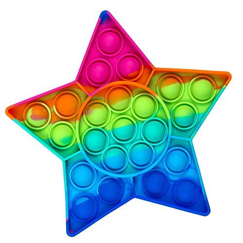 PhiLuMo Fidget Pop Toy/Sensory Toy - Stern-Form - 16 cm - in Regenbogenfarben - Push Pop Stressabbau