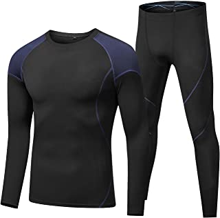 CFlong Thermal Underwear Set for Men, Base Layer Sport Compression Suit, Outdoor Sports Sweat-Absorbent Quick-Drying and W...