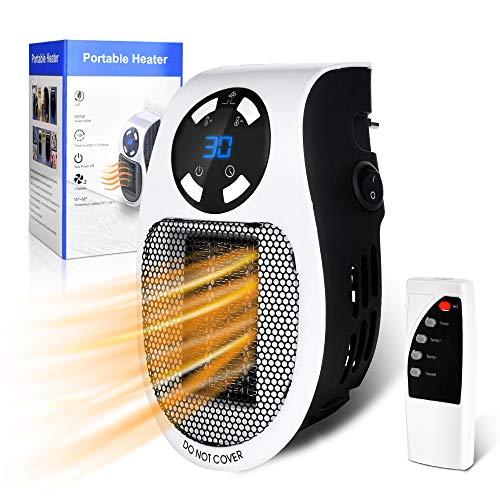 Steckdosen Heizlüfter mit Fernbedienung - Mini Keramik Heizung mit Thermostat - Lüfter 500W - Temperaturregelung Timer Überhitzungsschutz - Steckdosen-Heizlüfter - Badezimmer Schlafzimmer