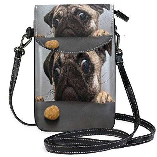 XCNGG Monedero pequeño para teléfono celular Pug Cell Phone Purse Wallet for Women Girl Small Crossbody Purse Bags