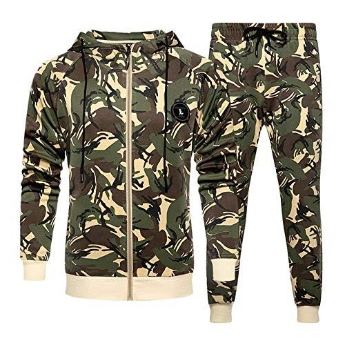 Sudaderas con capucha para hombre, conjuntos de ropa deportiva de otoño para hombre, chaqueta con capucha + pantalones de chándal de moda de camuflaje para hombre (color: caqui, talla: XL)