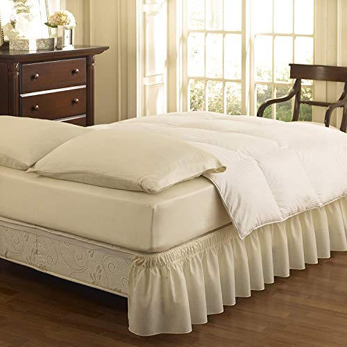 Pride Beddings- Solid Wrap Around Easy On/Off Dust Ruffle Designer 18'' Inch Drop Bed Skirt - King- Ivory