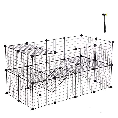 SONGMICS Pet Playpen Includes Cable Ties, Metal Wire Apartment-Style Two-Storey Bunny Fence
