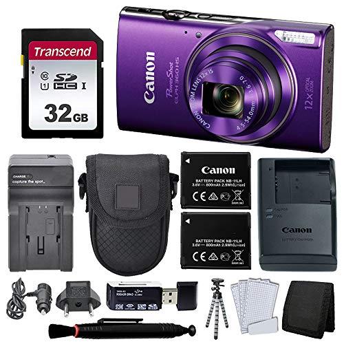 Canon PowerShot ELPH 360 HS Digital Camera (Purple) + Black Point & Shoot Case +Accessories!