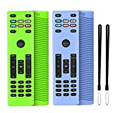Remote Cover Replacement for Vizio XRT136 Control Silicone Sleeve Case Anti-Slip Shockproof Purple and Glow Green Glove 2-Pack