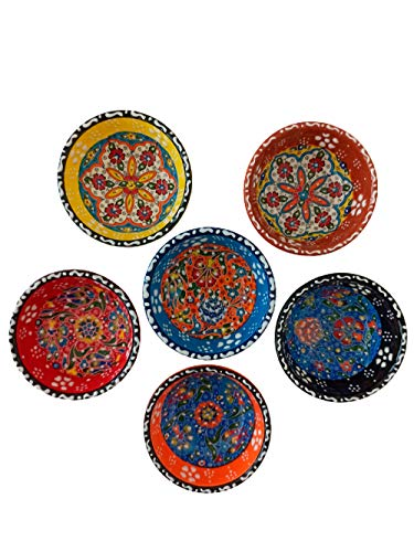 Ayennur Decorative Turkish Ceramic Bowl Set of 6 Serving-Handcrafted Pinch sauce Multicolor Finger Small Serving Bowls