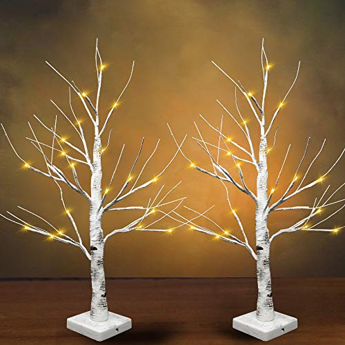 "24"" LED Birch Tree with 24 Lights (2 Packs), Tabletop Lighted Bonsai Birch Tree Battery Powered Thanksgiving Table Decoration Light for Indoor Christmas Party Home and Bedroom Fall décor"