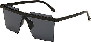 Fashion Square Flat Top Sunglasses Retro Frameless Gradient Sunglasses for Men and Women