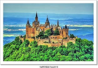 Barewalls Hohenzollern Castle in The Swabian Alps - Baden-Wurttemberg, Germany Paper Print Wall Art (10in. x 15in.)