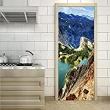 Mountain top view,3D Door Stickers for Interior Doors Self-adhesive Wall Art Stickers for Bedroom House Living Room Bedroom Office Bathroom Home Decoration (77*200CM)