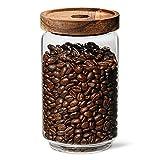 VIENESSO Tarro de café hermético de cristal (750 g) – Depósito de granos de café (café, té, cacao, pasta, etc.) con tapa de aroma para granos de café frescos – Tarro de almacenamiento de café