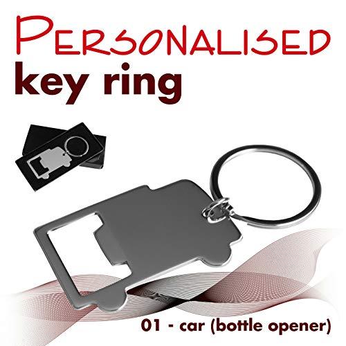 BeCreative Gepersonaliseerde sleutelhanger gegraveerd met tekst, naam, logo (01 - auto (flesopener))