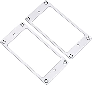 2Pcs Pickup Frame Mounting Rings Metal Humbucker Pickup Ring Electric Guitars Replacement Parts(Silver)