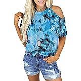 Elesoon Camiseta de manga corta para mujer, sin mangas, con tirantes de teñido y hombros descubiertos, cuello hondo y fibra de leche, C-Sky Azul, 42