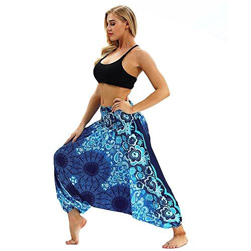 Allence Damen Hosen Damen hosen, hohe taille, weite boho haremhose, aladin hose, yoga hose einheitsgröße blue 1